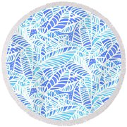 Kaua'i Ocean Leaves Round Beach Towel