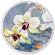 Round Beach Towel featuring the painting Kauai Orchid Festival by Marionette Taboniar