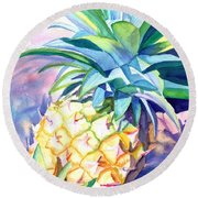 Round Beach Towel featuring the painting Kauai Pineapple 3 by Marionette Taboniar