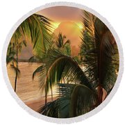 Olena Art Kauai Tropical Island View Round Beach Towel