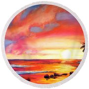 Round Beach Towel featuring the painting Kauai West Side Sunset by Marionette Taboniar