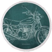 Kawasaki Motorcycle Blueprint, Mid Century Art Print Round Beach Towel