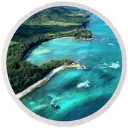 Kawela Bay, Looking West Round Beach Towel