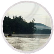 Kayak In The Fog Round Beach Towel