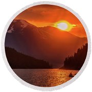 Kayak In The Sunset Glow Round Beach Towel
