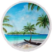 Kayak On The Beach Round Beach Towel