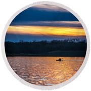 Kayak Sunset Round Beach Towel