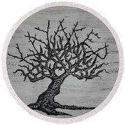 Round Beach Towel featuring the drawing Kayaker Love Tree by Aaron Bombalicki