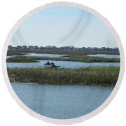 Kayakers Round Beach Towel