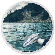 Kayaking At Devils Lake Round Beach Towel