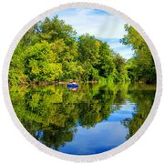 Round Beach Towel featuring the photograph River Kayaking by Michael Rucker
