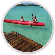 Kayaking Perfection 1 Round Beach Towel