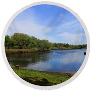 Kayaking The Cotee River Round Beach Towel