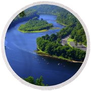 Round Beach Towel featuring the photograph Kayaking The Delaware River by Raymond Salani III