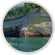 Kayaking The Pictured Rocks Round Beach Towel