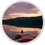 Kayaking Under A Gorgeous Sundown Sky On Concord Pond Round Beach Towel by Joy Nichols