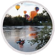 Kayaks And Balloons Round Beach Towel
