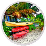 Kayaks In Paradise Round Beach Towel by Joan  Minchak