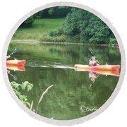 Kayaks On The River Round Beach Towel