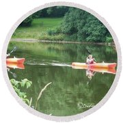 Kayaks On The River Round Beach Towel