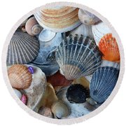 Round Beach Towel featuring the photograph Kayla's Shells by John Schneider