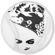 Kebaya Headpiece Round Beach Towel