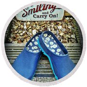 Keep Smiling And Carry On Round Beach Towel