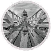 Round Beach Towel featuring the photograph Keeper's Walkway At Marshall Point by Rick Berk