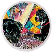 Keeping Themselves Occupied Round Beach Towel