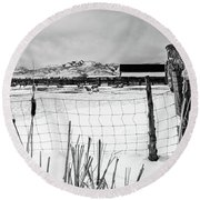 Keeping Watch Black And White Round Beach Towel