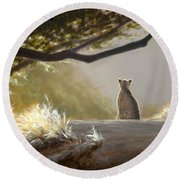Keeping Watch - Cheetah Round Beach Towel