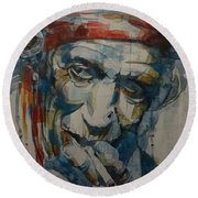 Keith Richards Art Round Beach Towel