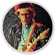 Round Beach Towel featuring the photograph Keith Richards by Taylan Apukovska