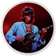 Keith Richards The Riffmaster Round Beach Towel by Paul Meijering