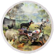 Kelpie Karetakers Round Beach Towel