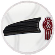 Ken Worth White Tractor 041418 Round Beach Towel