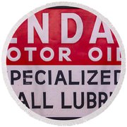 Kendall Motor Oils Sign Round Beach Towel