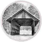 Round Beach Towel featuring the photograph Keniston Covered Bridge  by Betty Pauwels