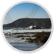 Round Beach Towel featuring the photograph Kennack Sands by Brian Roscorla