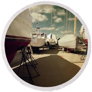 Round Beach Towel featuring the photograph Kennebunk...springtime In The Boatyard by Samuel M Purvis III