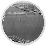 Kennedy Bridge Construction Round Beach Towel