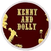 Kenny And Dolly Poster Round Beach Towel