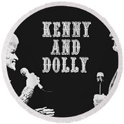 Kenny Rogers And Dolly Parton Round Beach Towel