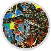 Kenny Rogers Painting Poster Round Beach Towel
