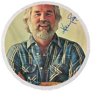 Kenny Rogers Signed Print Round Beach Towel