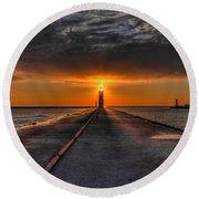 Kenosha Lighthouse Beacon Square Round Beach Towel