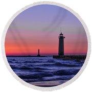 Kenosha Lighthouse Blue Waves Round Beach Towel