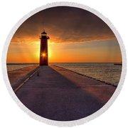 Kenosha Lighthouse Sunrise Round Beach Towel