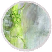 Kensho- Abstract Art By Linda Woods Round Beach Towel