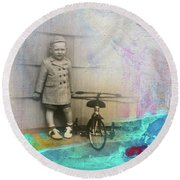 Round Beach Towel featuring the mixed media Kent Tricycle by Nancy Merkle